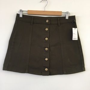 Forever 21 Button Skirt Brown Army Green Size 29